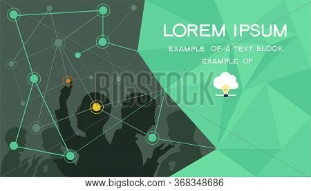 Vector Background. Cloud Computing Concept. Man And The World Wide Web