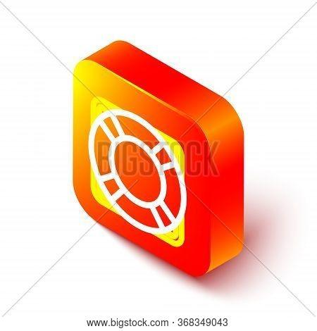 Isometric Line Lifebuoy Icon Isolated On White Background. Lifebelt Symbol. Orange Square Button. Ve