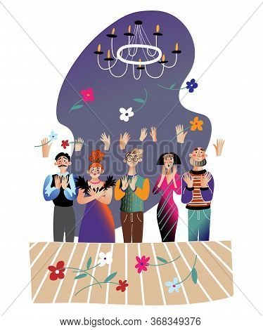 Applause For Actors Flat Vector Illustration. Grateful Audience Throwing Flowers On Stage. Happy The