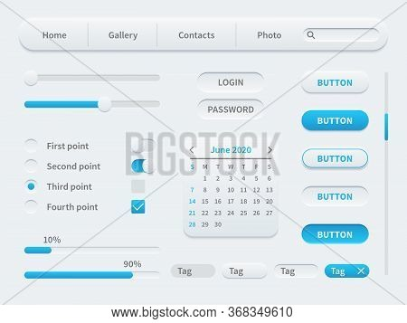 White Interface Elements. Universal Ui Template For Mobile Applications And Web Sites. Tools, Button
