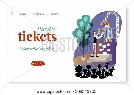 Theatre Tickets Vector Landing Page Template. Dramatic Performance Scene On Stage Cartoon Illustrati
