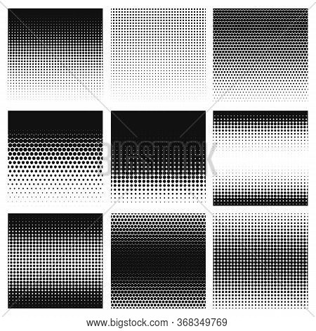 Halftone. Gradient Halftone Dots Graphic, Digital Technology Pattern. Grayscale Perforated Monochrom