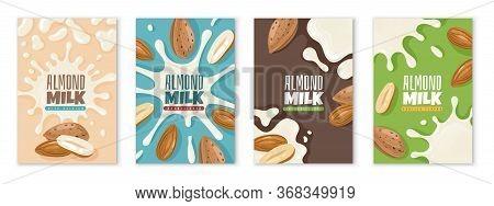 Almond Milk. Dairies Package Design Template, Diet Product Advertising, Protein Milk Healthy Breakfa