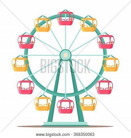 Ferris Wheel Spinning Flat Illustration. Amusement Park Cartoon Drawing. Retro, Vintage Attraction I