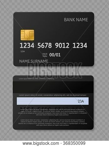 Black Credit Card. Realistic Credit Debit Cards With Chip, Front And Back Side Mockup For Bank Trans