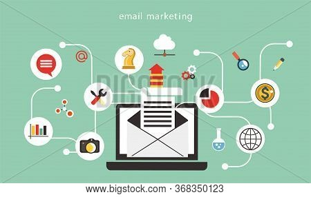 Email Marketing Company Concept. Flat Design With Icons For Web Site, Business Presentation, Banner.