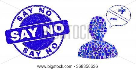 Geometric Person Arguments Mosaic Icon And Say No Seal Stamp. Blue Vector Rounded Grunge Seal Stamp