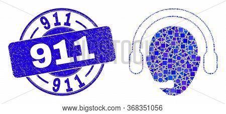 Geometric Operator Head Mosaic Icon And 911 Seal. Blue Vector Round Distress Seal Stamp With 911 Phr