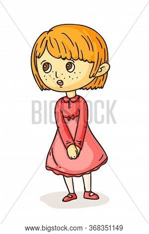 Pretty Preschool Girl Singing Song Standing. Little Female Choral Artist Isolated On White. Choir Vo