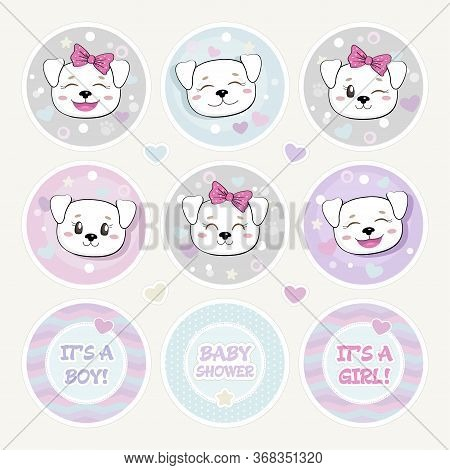 Lovely Baby Shower Round Shape Tag Set. Cute Puppies Stickers. Funny Baby Dog With Bow, Tiny Hearts