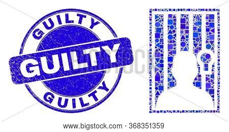 Geometric Jailed Person Mosaic Pictogram And Guilty Seal Stamp. Blue Vector Round Grunge Stamp With