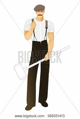 Blacksmith With Mustache And Beret Wearing Retro Work Clothes And Holding A Long Handled Hammer. Iso
