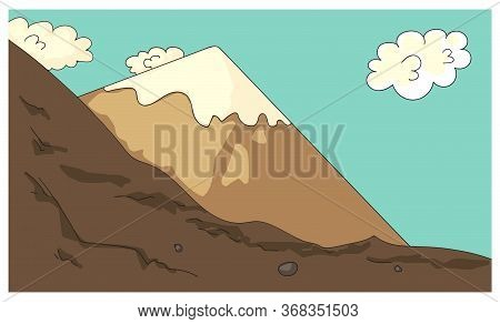 Cartoon Mountains And Cliffs Rock With Snow Cover. Hills Valley In Highlands. Design For Hiking Or M