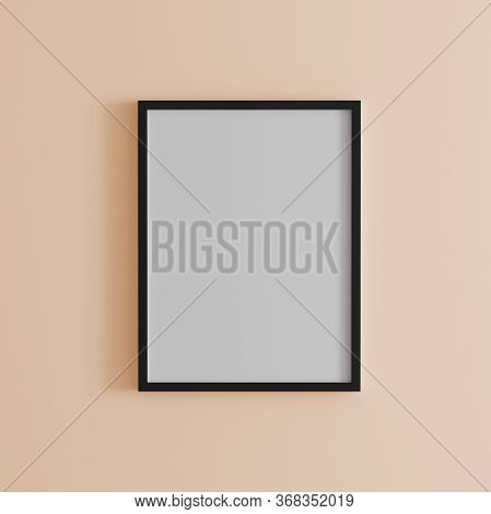 Blank Frame On Coral Wall Mock Up, Vertical Black Poster Frame On Wall,  Picture Frame Isolated On A