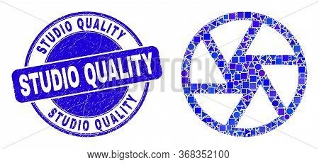 Geometric Shutter Mosaic Icon And Studio Quality Seal Stamp. Blue Vector Round Textured Seal With St