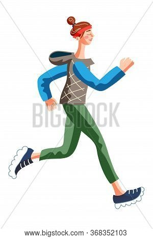 Sportive Slim Woman Jogging In Morning Isolated On White. Girl In Warm Clothes Doing Sports, Fitness