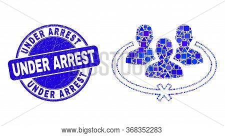 Geometric Jailed Persons Mosaic Pictogram And Under Arrest Seal Stamp. Blue Vector Round Grunge Seal