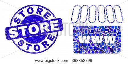 Geometric Webshop Mosaic Icon And Store Stamp. Blue Vector Round Grunge Watermark With Store Phrase.