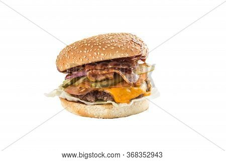 Fresh Cheeseburger With Bacon And Pickles Isolated On White Background