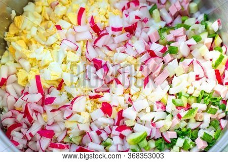 Ingredients For Vegetable Okroshka, Russian Cold Seasonal Dish, Delicious Light Lunch