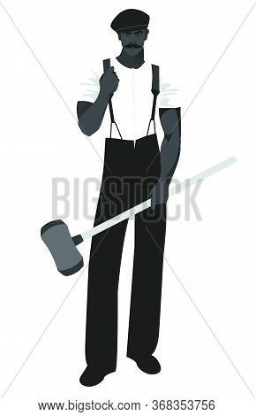 Silhouette Of Blacksmith With Beret Wearing Retro Work Clothes And Holding A Long Handled Hammer. Is
