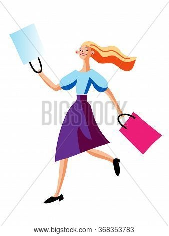 Happy Excited Woman With Paper Shopping Bags Running Isolated On White. Cartoon Cheerful Fashion Fem