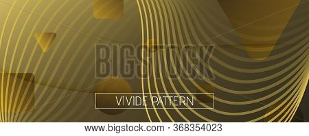 Abstract Vector Curve. Golden Gradient Wallpaper. 3d Fluid Shapes. Digital Brochure. Gold Abstract V
