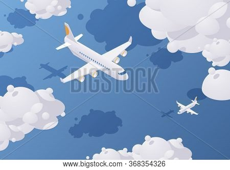 Isometric Passenger Airplane Flying In The Sky Full Of Clouds Above The Blue Sea. Vector Concept Ill