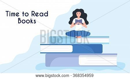 Tiny Woman Reading Book, Sitting On Stack Of Giant Books. Concept Of Book Festival, Letirature Event