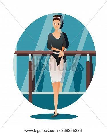 Professional Slim Ballerina Choreographer Ballet Dancer Girl Portrait. Gym Class, Classical Dance St
