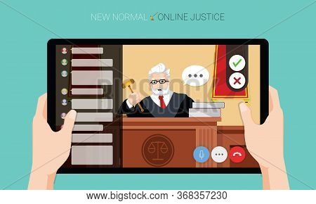 New normal concept and physical distancing, Hands holding tablet and watching the judge adjudges case online for prevention from disease outbreak. Vector illustration of new behavior after Covid-19 pandemic concept