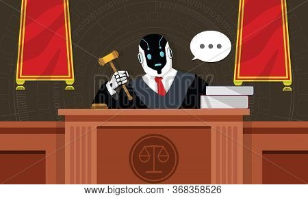 Robot Lawyer Or Judge Sit On The Throne In The Courtroom. Humanoid Working At Workplace With Gavel B