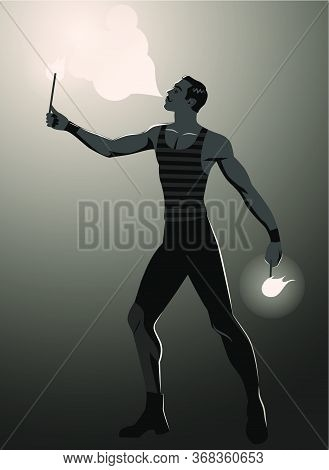 Backlit Silhouette Of Fire Eater In Vintage Style, Spitting Fire And Wearing Old Clothes
