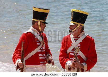 Brisbane, Australia - September 16 : Unidentified Men In Soldier Re-enactment Costume Milling As Par