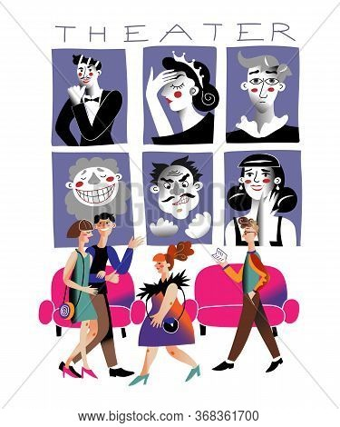 People In Theatre Flat Vector Illustration. Premiere Posters. Art Lovers Cartoon Characters. Men And