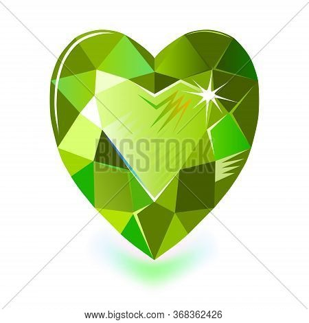 Heart Cut Gemstone Motif Pattern Shape On White Background, Vector Illustration