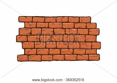 Brick Wall Vector Illustration, Old Ancient Or Aged Rectangle Bricks For Poster On House Facade Deco