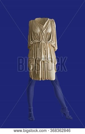 Modern Conceptual Art Poster. Collage Of Sculptural Female Ancient Greek Toga And Beautiful Female L