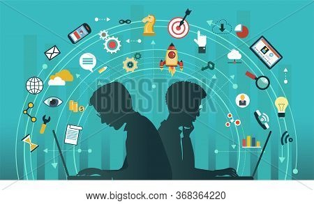 Silhouettes Of People With Laptops. Infographics Background Seo Optimization. Seo Concept. Icon Set.