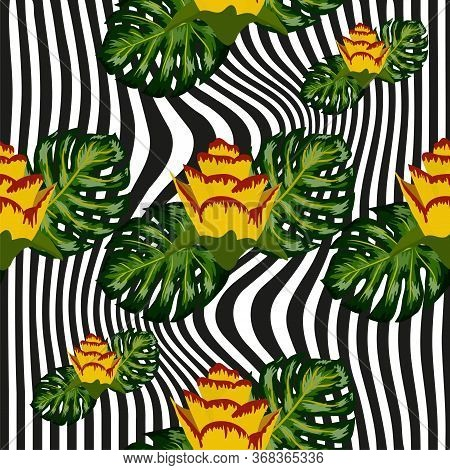 Summer Seamless Tropical Pattern With Bright Yellow And Pink Plants And Leaves On A Striped Backgrou