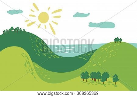 Summer Landscape Mountain Forest Sun Sea Green Grass Tree Woods Sketch Simple Line Child Hand Drawin