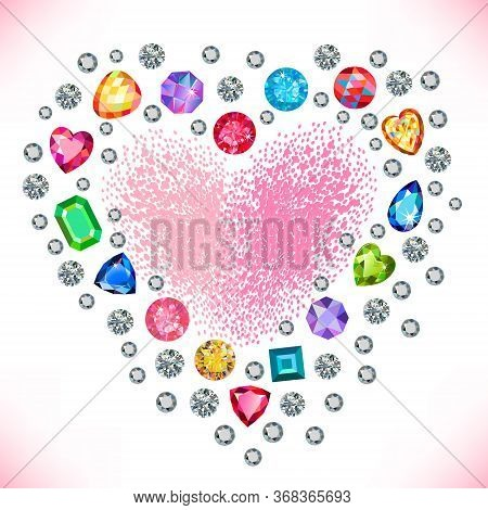 Heart Cut Gemstone Motif Pattern Shape Set On Background Illustration