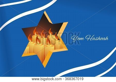 Holocaust Remembrance Day 27th Of January Template. Jewish Star Of David And Candles Behind Blue Bac