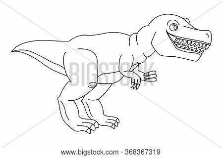 Dangerous Predator Tyrannosaurus Rex Open Mouth, Drawn Close-up. Prehistoric Extinct Animal. Colorin