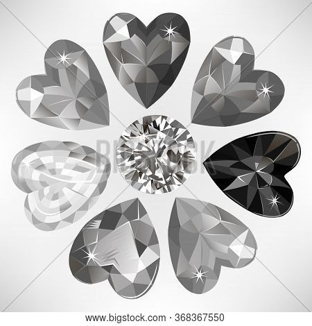 Heart Cut Gemstone Motif Pattern Shape Set On Background Vector Illustration