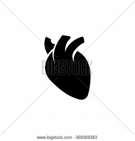 Human Heart, Cardiac Muscle, Pump Organ. Flat Vector Icon Illustration. Simple Black Symbol On White