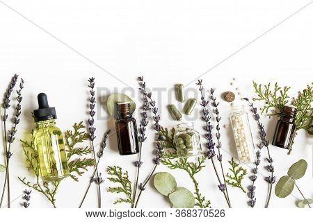 Homeopathy Eco Alternative Medicine Concept - Classical Homeopathy Pills, Thuja, Eucalyptus, Lavende