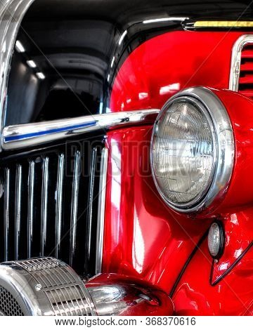 Vintage Truck With Large Classic Headlights And A Chrome Grill Make This Detailed And Polished Vehic