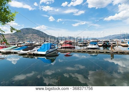 Penticton, British Columbia/canada - June 13, 2019: View Of Boats And Docks In Summer At The Pentict
