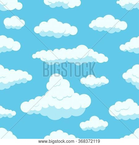 White Clouds On Blue Sky Seamless Pattern. Different Form Fluffy Clouds On Light Heaven Background.